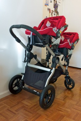 Stroller with both car seats